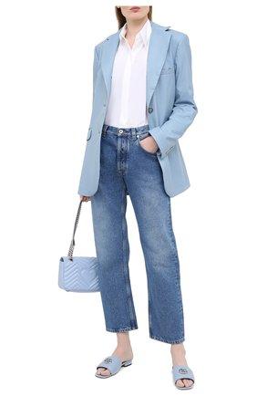 Женские кожаные шлепанцы jolie GUCCI голубого цвета, арт. 627827/BK000 | Фото 2