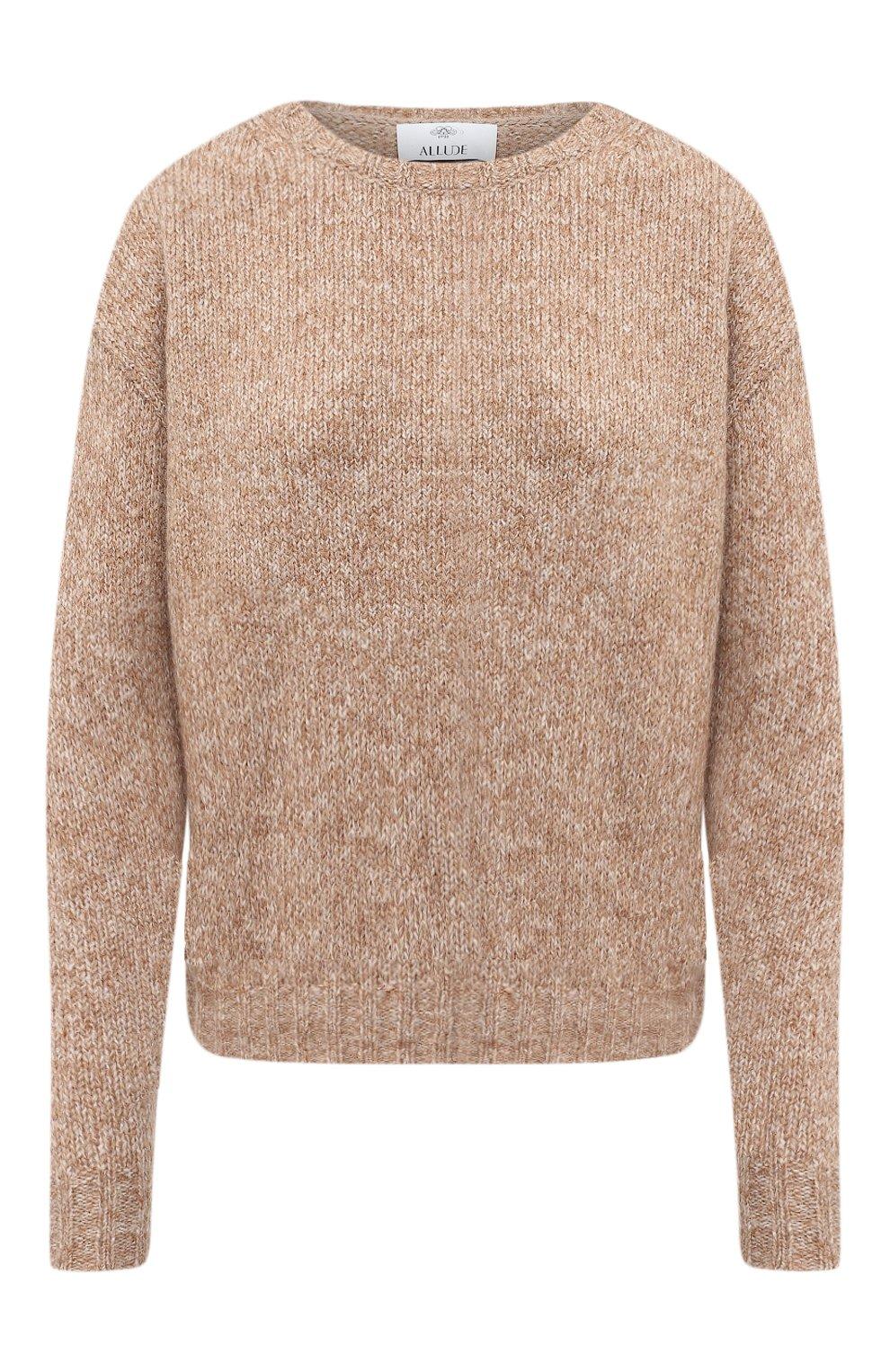 Женский свитер ALLUDE коричневого цвета, арт. 205/62003 | Фото 1 (Женское Кросс-КТ: Свитер-одежда; Рукава: Длинные; Материал внешний: Синтетический материал; Длина (для топов): Стандартные)