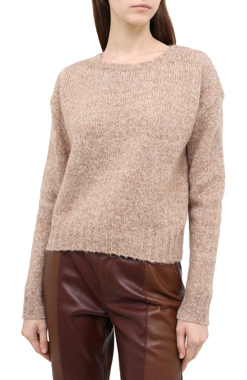 Женский свитер ALLUDE коричневого цвета, арт. 205/62003 | Фото 3 (Женское Кросс-КТ: Свитер-одежда; Рукава: Длинные; Материал внешний: Синтетический материал; Длина (для топов): Стандартные)