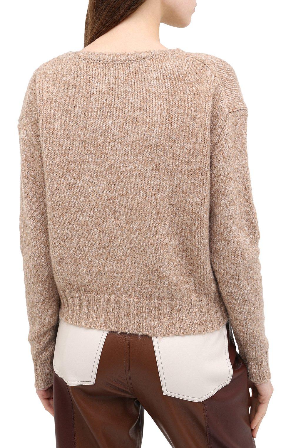 Женский свитер ALLUDE коричневого цвета, арт. 205/62003 | Фото 4 (Женское Кросс-КТ: Свитер-одежда; Рукава: Длинные; Материал внешний: Синтетический материал; Длина (для топов): Стандартные)