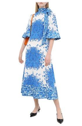 Женское шелковое платье VALENTINO голубого цвета, арт. UB3VATI55T5   Фото 2