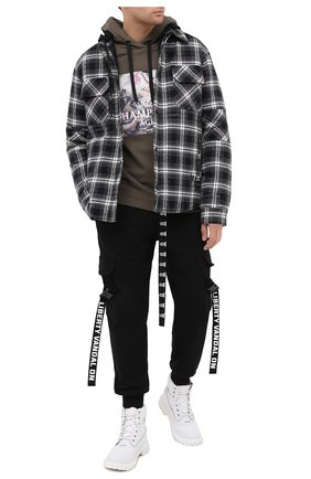 Мужской хлопковое худи DIEGO VENTURINO хаки цвета, арт. FW20-DV FLH UCA | Фото 2