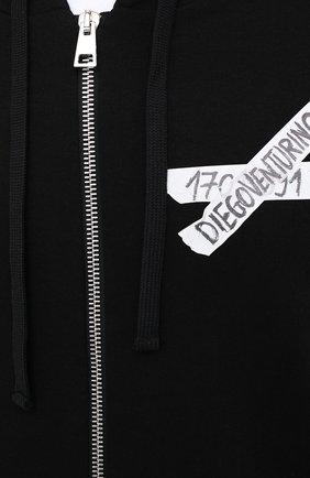 Мужской хлопковая толстовка DIEGO VENTURINO черного цвета, арт. FW20-DV FLZ LSCG | Фото 5