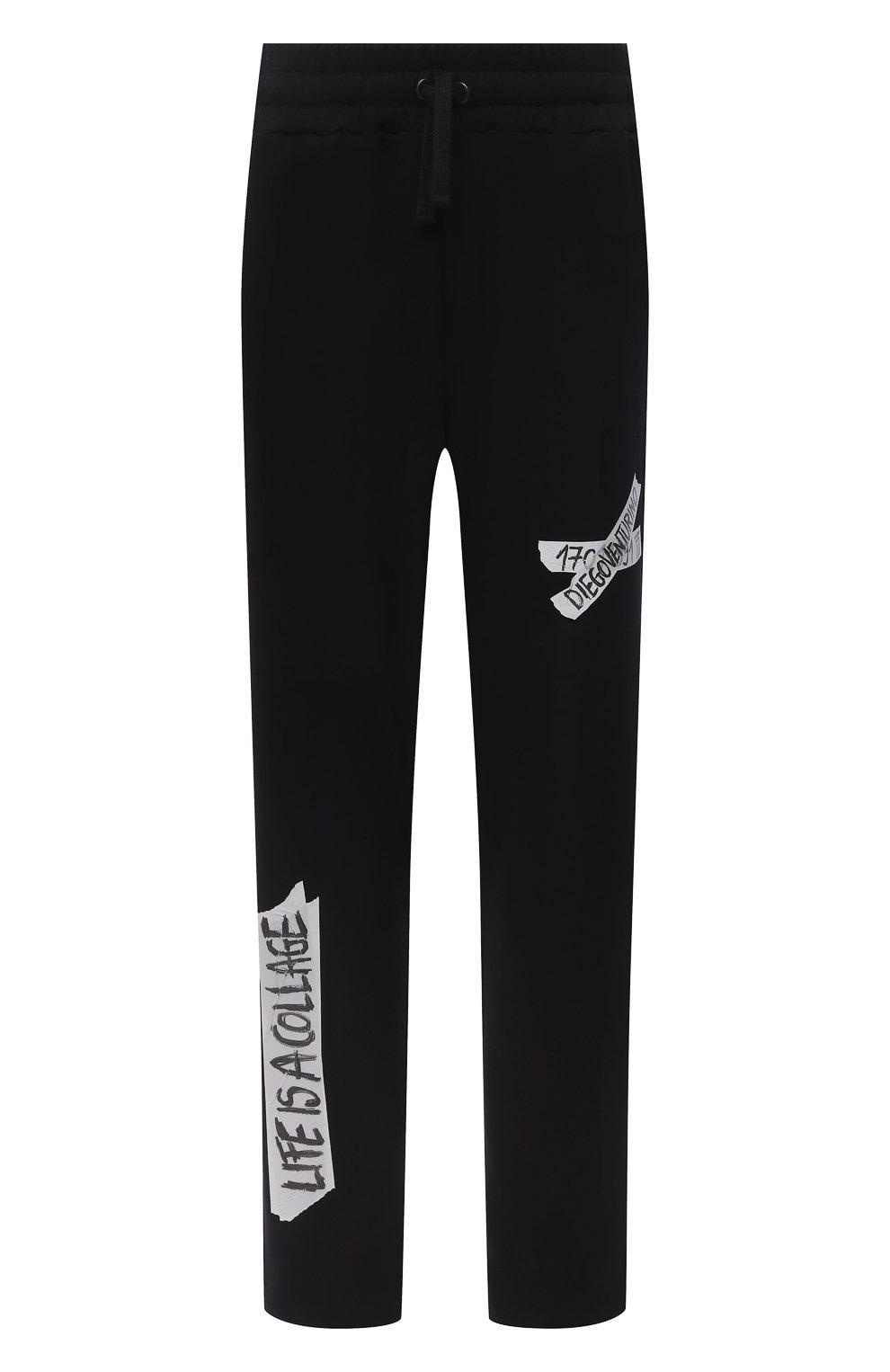Мужские хлопковые брюки DIEGO VENTURINO черного цвета, арт. FW20-DV PNT LLSCG | Фото 1