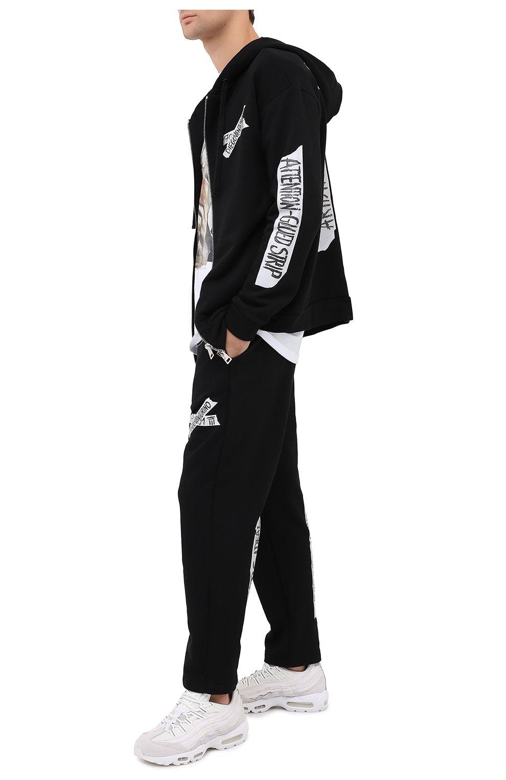 Мужские хлопковые брюки DIEGO VENTURINO черного цвета, арт. FW20-DV PNT LLSCG | Фото 2
