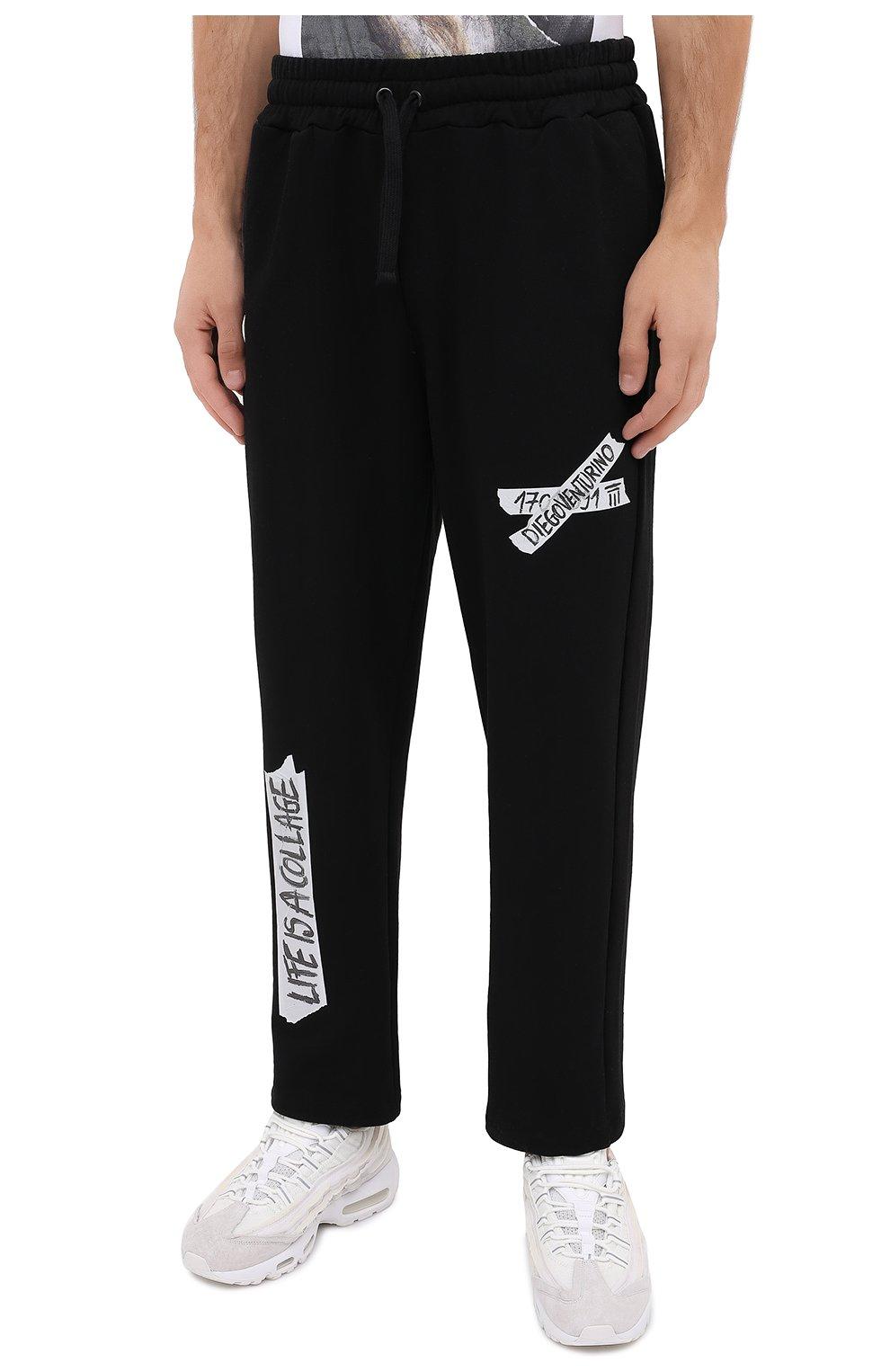 Мужские хлопковые брюки DIEGO VENTURINO черного цвета, арт. FW20-DV PNT LLSCG | Фото 3