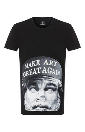 Мужская хлопковая футболка DIEGO VENTURINO черного цвета, арт. FW20-DV TS ACM   Фото 1