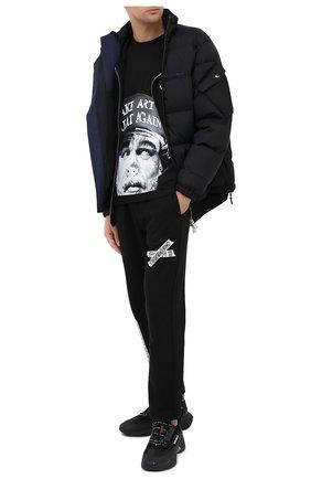 Мужская хлопковая футболка DIEGO VENTURINO черного цвета, арт. FW20-DV TS ACM   Фото 2