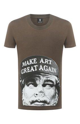 Мужская хлопковая футболка DIEGO VENTURINO хаки цвета, арт. FW20-DV TS ACM | Фото 1