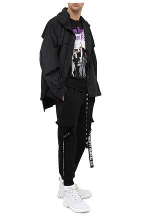 Мужская хлопковая футболка DIEGO VENTURINO черного цвета, арт. FW20-DV TS ARF   Фото 2
