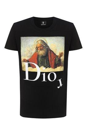 Мужская хлопковая футболка DIEGO VENTURINO черного цвета, арт. FW20-DV TS DAC   Фото 1