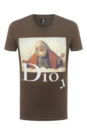 Мужская хлопковая футболка DIEGO VENTURINO хаки цвета, арт. FW20-DV TS DAC | Фото 1