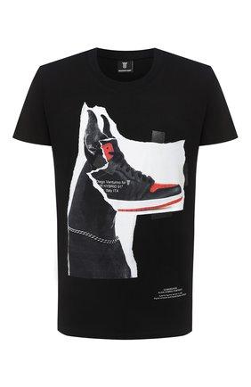 Мужская хлопковая футболка DIEGO VENTURINO черного цвета, арт. FW20-DV TS DSC | Фото 1