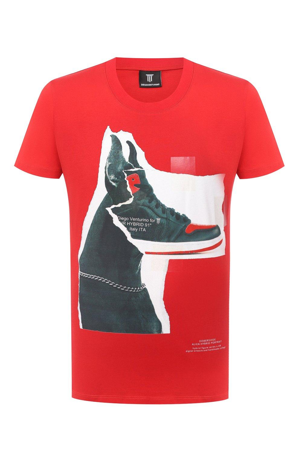 Мужская хлопковая футболка DIEGO VENTURINO красного цвета, арт. FW20-DV TS DSC   Фото 1