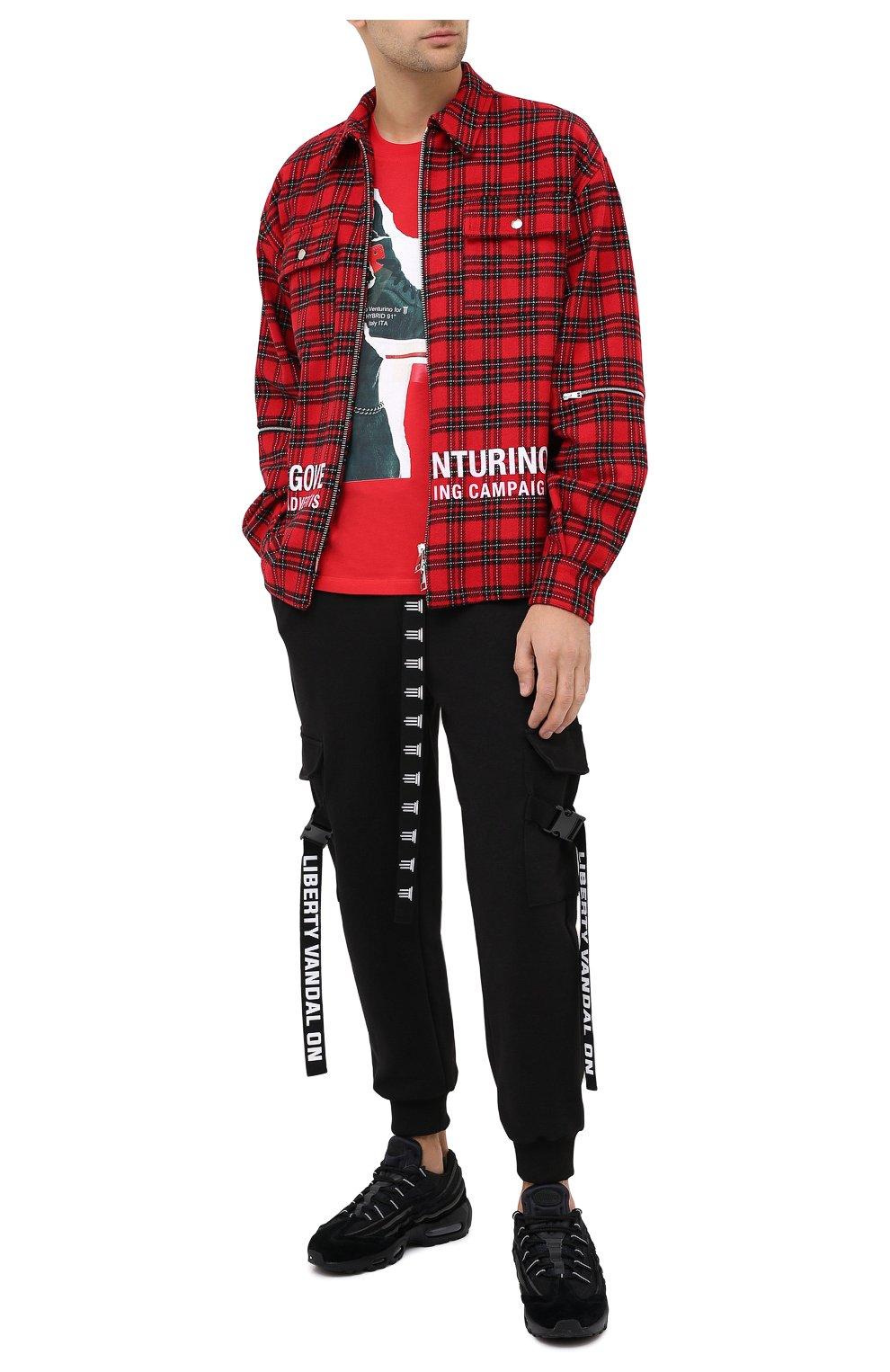 Мужская хлопковая футболка DIEGO VENTURINO красного цвета, арт. FW20-DV TS DSC   Фото 2