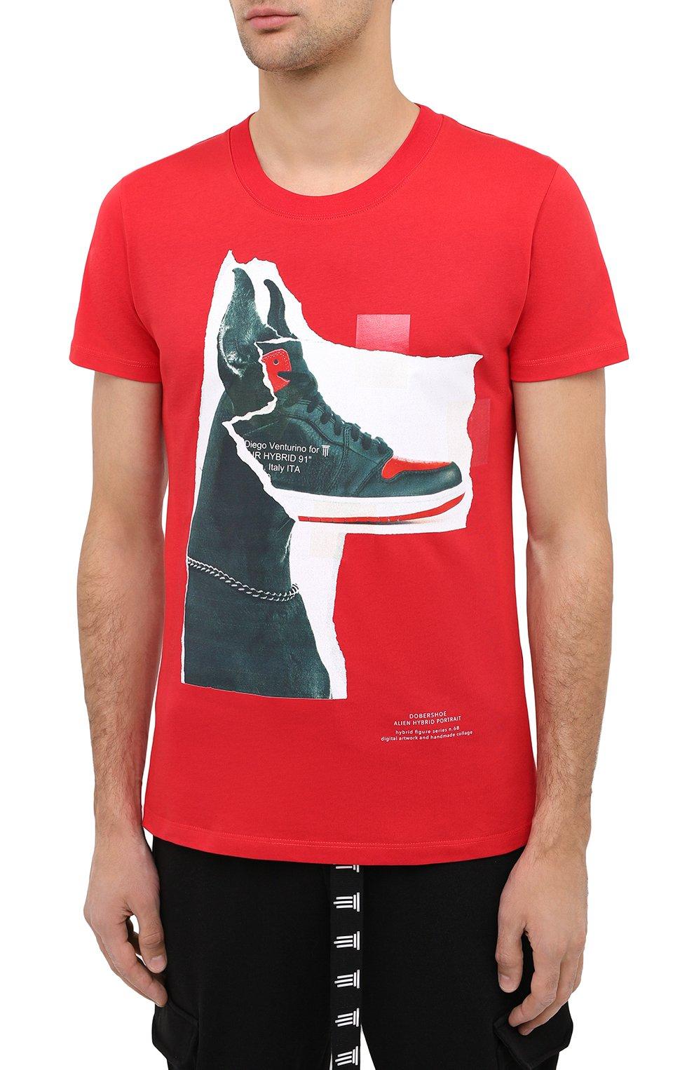Мужская хлопковая футболка DIEGO VENTURINO красного цвета, арт. FW20-DV TS DSC   Фото 3