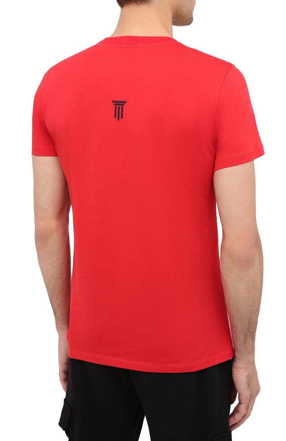 Мужская хлопковая футболка DIEGO VENTURINO красного цвета, арт. FW20-DV TS DSC   Фото 4
