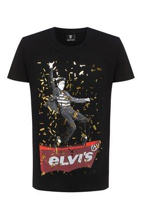 Мужская хлопковая футболка DIEGO VENTURINO черного цвета, арт. FW20-DV TS EAC   Фото 1