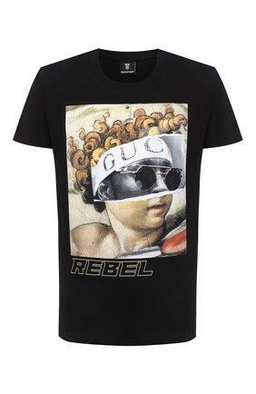 Мужская хлопковая футболка DIEGO VENTURINO черного цвета, арт. FW20-DV TS IRP   Фото 1