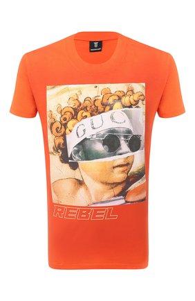 Мужская хлопковая футболка DIEGO VENTURINO оранжевого цвета, арт. FW20-DV TS IRP   Фото 1