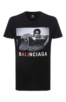Мужская хлопковая футболка DIEGO VENTURINO черного цвета, арт. FW20-DV TS MAC   Фото 1