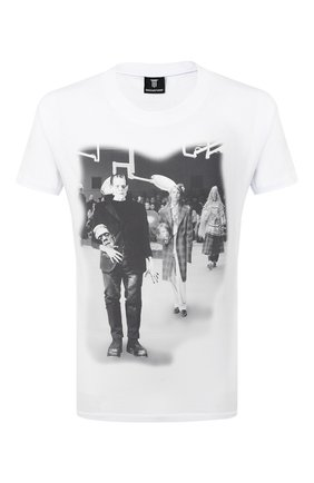 Мужская хлопковая футболка DIEGO VENTURINO белого цвета, арт. FW20-DV TS RPS | Фото 1