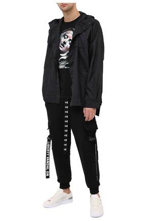 Мужская хлопковая футболка DIEGO VENTURINO черного цвета, арт. FW20-DV TS TEL   Фото 2