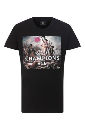 Мужская хлопковая футболка DIEGO VENTURINO черного цвета, арт. FW20-DV TS UCA | Фото 1