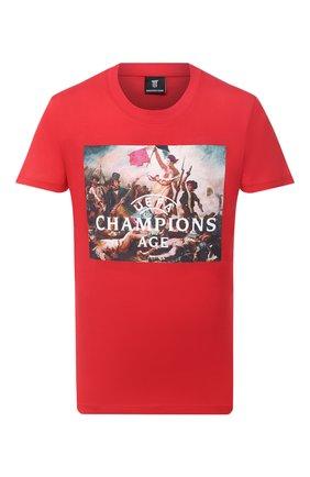 Мужская хлопковая футболка DIEGO VENTURINO красного цвета, арт. FW20-DV TS UCA   Фото 1