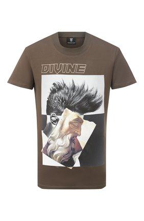 Мужская хлопковая футболка DIEGO VENTURINO хаки цвета, арт. FW20-DV TS ZDP | Фото 1