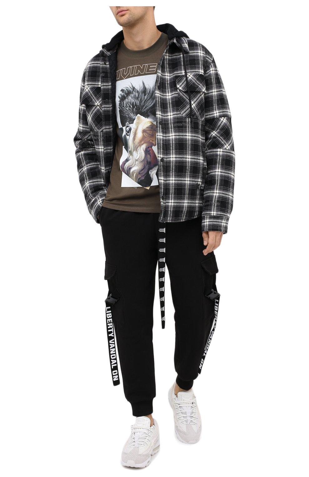 Мужская хлопковая футболка DIEGO VENTURINO хаки цвета, арт. FW20-DV TS ZDP | Фото 2