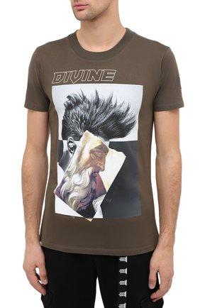 Мужская хлопковая футболка DIEGO VENTURINO хаки цвета, арт. FW20-DV TS ZDP | Фото 3