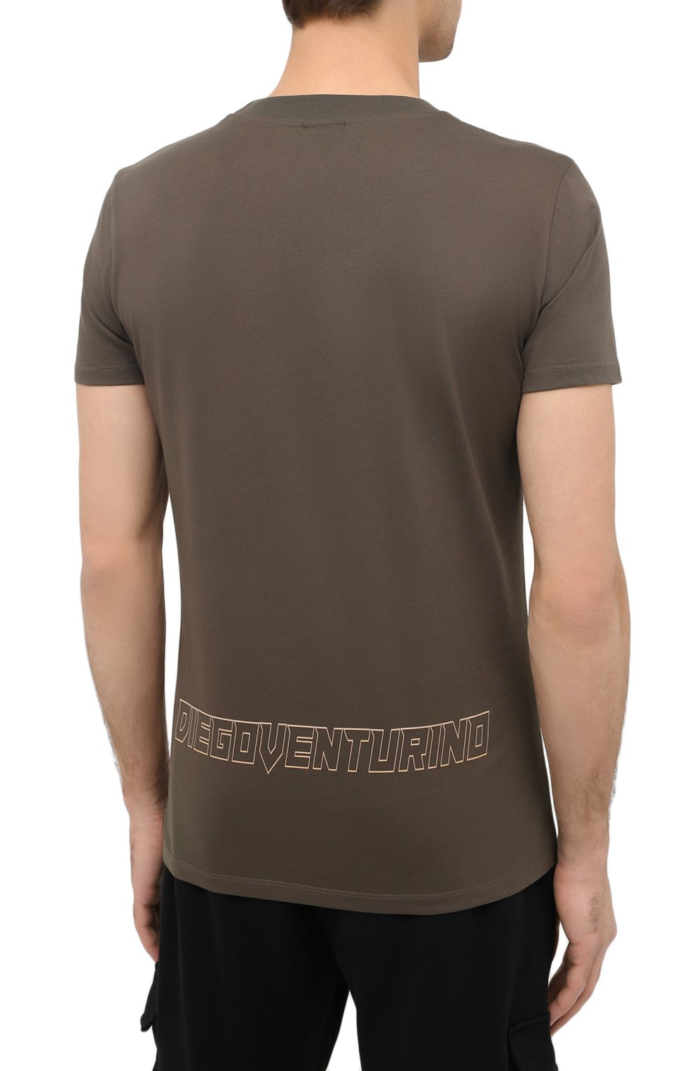 Мужская хлопковая футболка DIEGO VENTURINO хаки цвета, арт. FW20-DV TS ZDP | Фото 4