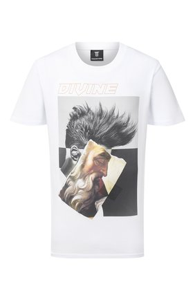 Мужская хлопковая футболка DIEGO VENTURINO белого цвета, арт. FW20-DV TS ZDP | Фото 1
