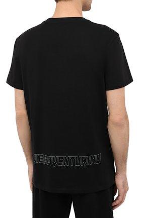 Мужская хлопковая футболка DIEGO VENTURINO черного цвета, арт. FW20-DV TSK AGP | Фото 4