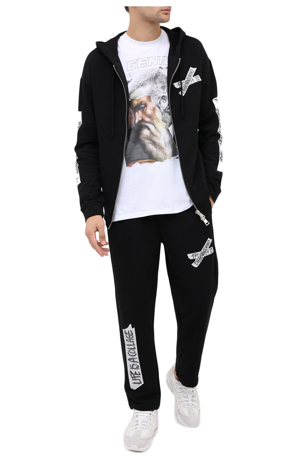Мужская хлопковая футболка DIEGO VENTURINO белого цвета, арт. FW20-DV TSK AGP | Фото 2