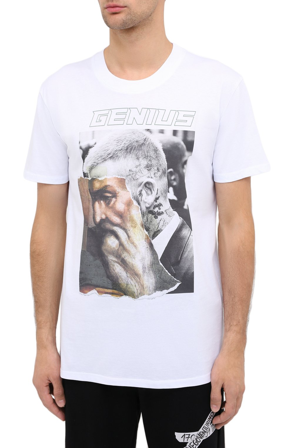 Мужская хлопковая футболка DIEGO VENTURINO белого цвета, арт. FW20-DV TSK AGP | Фото 3