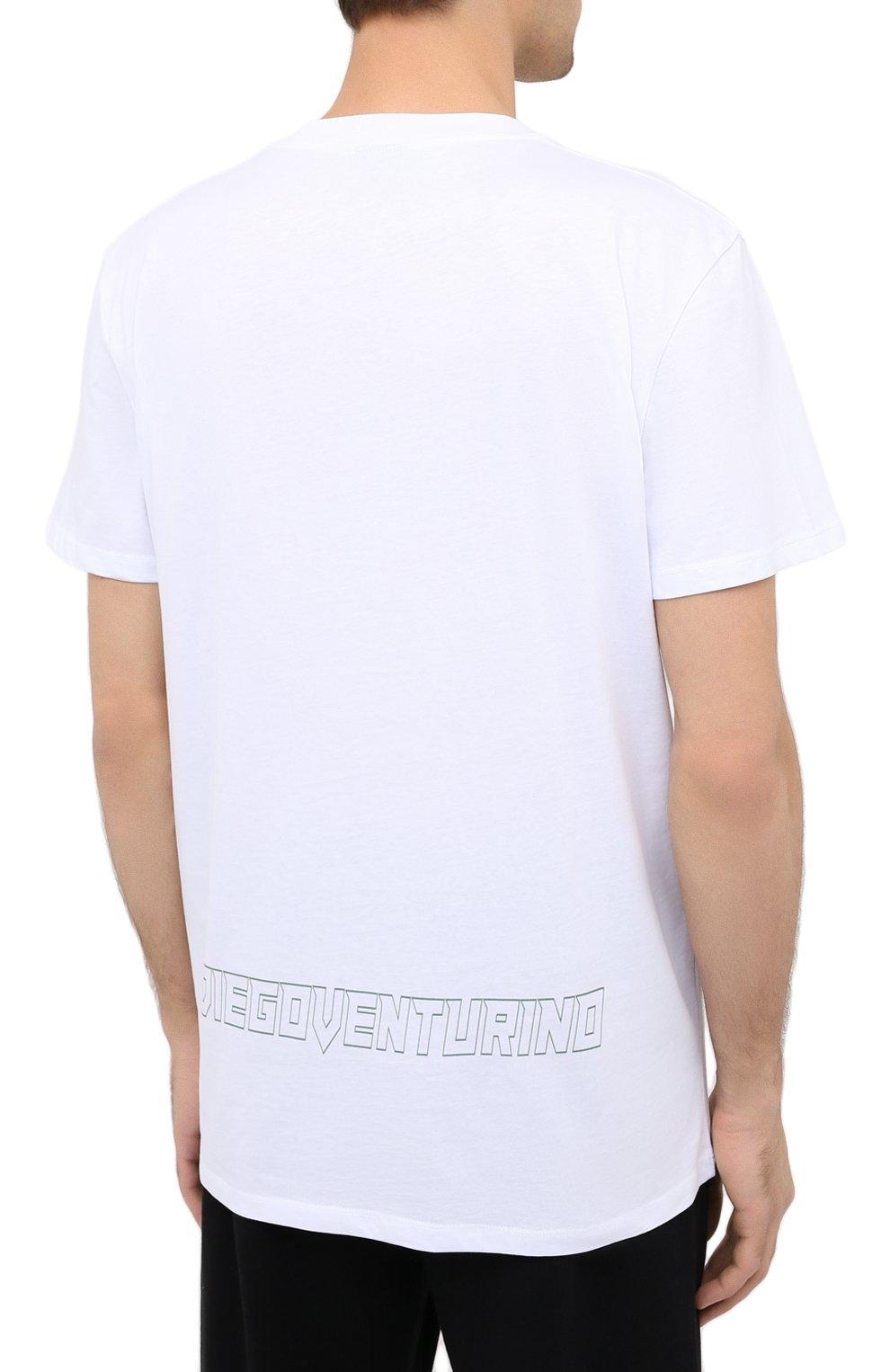 Мужская хлопковая футболка DIEGO VENTURINO белого цвета, арт. FW20-DV TSK AGP | Фото 4