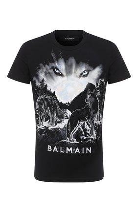 Мужская хлопковая футболка BALMAIN черно-белого цвета, арт. UH11601/I307 | Фото 1