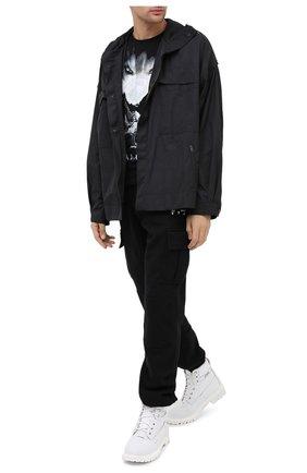 Мужская хлопковая футболка BALMAIN черно-белого цвета, арт. UH11601/I307 | Фото 2