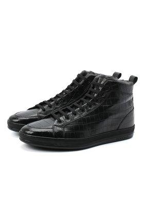Мужские кожаные ботинки DOUCAL'S черного цвета, арт. DU2709GENTUM023NN00   Фото 1 (Материал утеплителя: Натуральный мех; Подошва: Массивная; Мужское Кросс-КТ: Ботинки-обувь, зимние ботинки)