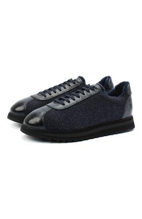 Мужские комбинированные кроссовки DOUCAL'S темно-синего цвета, арт. DU1791WINNPM0082B15/FUR T0NGUE | Фото 1