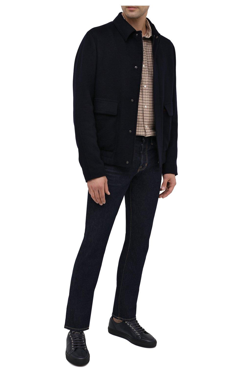Мужские кожаные кеды BRIONI темно-синего цвета, арт. QHH40L/09712 | Фото 2