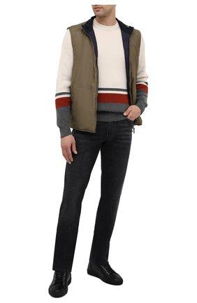 Мужские кожаные кеды BRIONI черного цвета, арт. QHH40L/09712 | Фото 2 (Подошва: Массивная)