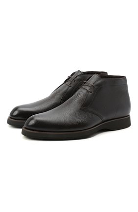 Мужские кожаные ботинки BRIONI темно-коричневого цвета, арт. QQC30L/09712 | Фото 1