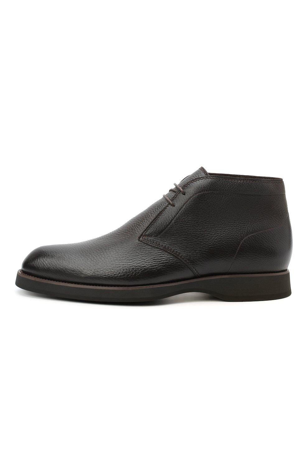 Мужские кожаные ботинки BRIONI темно-коричневого цвета, арт. QQC30L/09712 | Фото 3