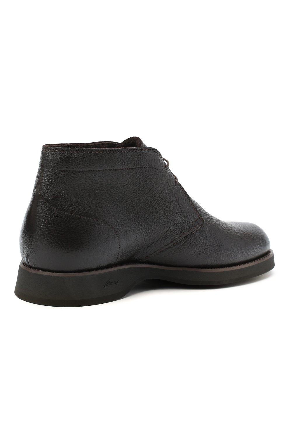 Мужские кожаные ботинки BRIONI темно-коричневого цвета, арт. QQC30L/09712 | Фото 4