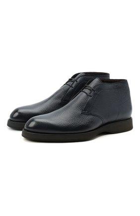 Мужские кожаные ботинки BRIONI темно-синего цвета, арт. QQC30L/09712 | Фото 1