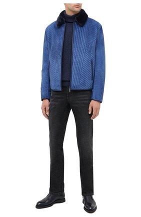 Мужские кожаные ботинки BRIONI темно-синего цвета, арт. QQC30L/09712 | Фото 2