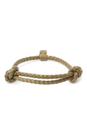 Мужской кожаный браслет BOTTEGA VENETA хаки цвета, арт. 608671/V0010 | Фото 1